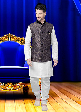 Grey Art Silk Brocade Nehru Jacket