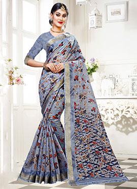 Blue Art Silk Cotton Printed Saree