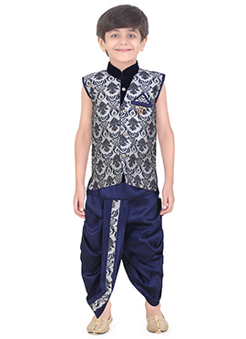 Grey N Blue Art Silk Kids Dhoti Kurta