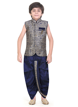Grey Art Silk Kids Dhoti Kurta