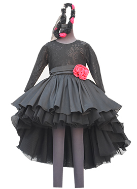 Fayon Grey Art Silk Kids High Low Gown