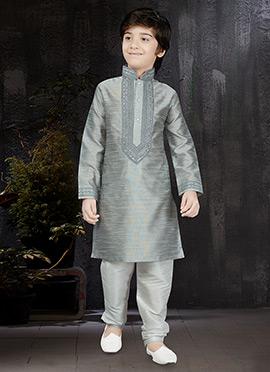 Grey Art Silk Kids Kurta Pyjama
