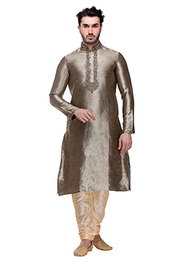 Grey Art Silk Kurta Pyjama