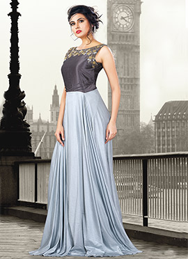 Grey Art Silk Lycra Gown