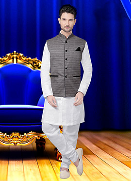 Grey Art Silk Nehru Jacket
