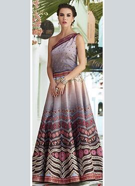 Grey N Brown Art Silk One Shoulder Anarkali Gown