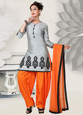 Grey Art Silk Salwar Suit