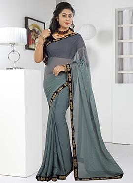 Grey Art Silk Saree