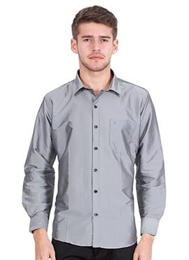 Grey Art Silk Shirt