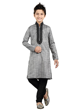 Grey Art Silk Teens Kurta Pyjama
