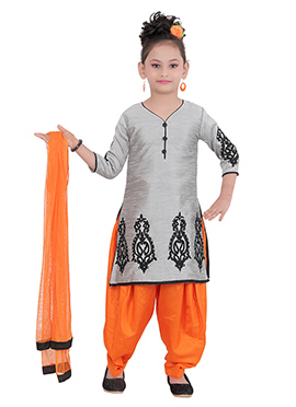 Grey Art Silk Teens Patiala Suit