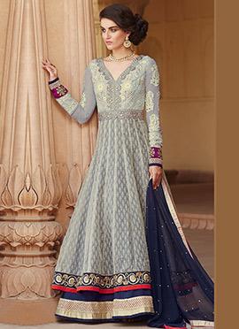 Grey Banarasi Jacquard Silk Anarkali Suit