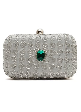 Grey N Silver Beads Embellished Stylish Clutch