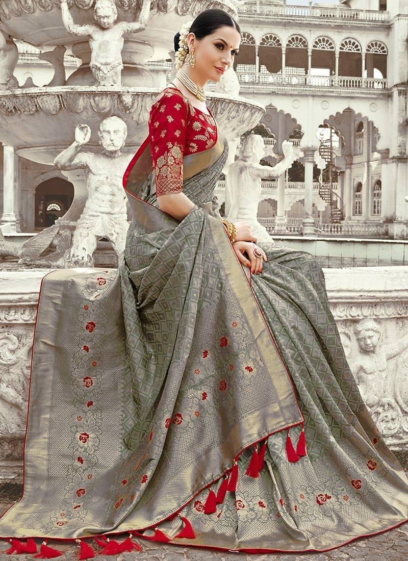 Grey Benarasi Art Silk Saree