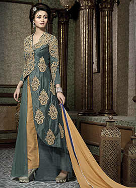Grey Benarasi Art Silk Straight Pant Suit