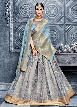 Sky Blue Benarasi Silk Umbrella Lehenga