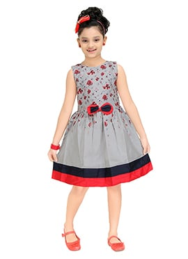 Grey Blended Cotton Kids Gown