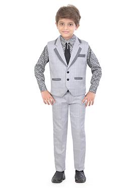 Grey Blended Cotton Kids Suit
