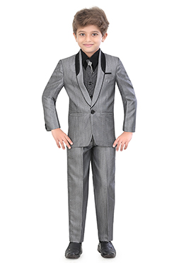 Grey Blended Cotton Kids Suit