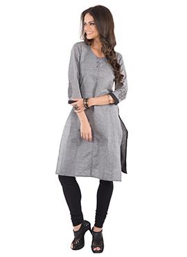 Grey Blended Cotton Kurti