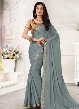 Grey Border Saree