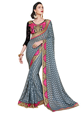 Grey Brasso Foliage Patterned Saree