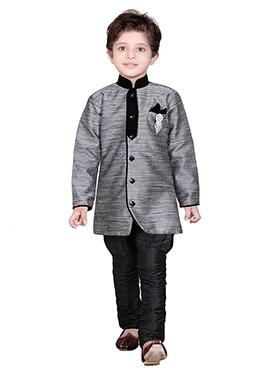 Grey Breeches Style Kids Sherwani