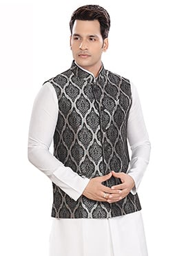 Grey Brocade Bandhgala Jacket