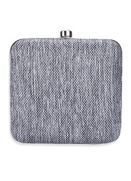 Grey Brocade Box Clutch