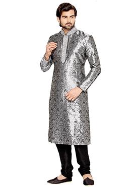 Grey Brocade Kurta Pyjama