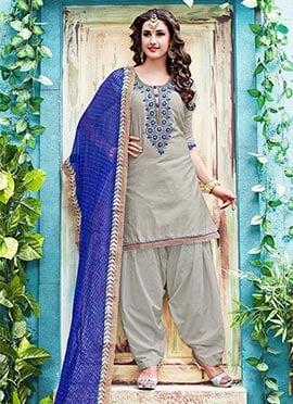 Grey Chanderi Cotton Salwar Suit