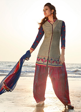 Grey Chanderi Silk Salwar Suit