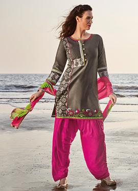 Grey Chanderi Silk Salwar Suit