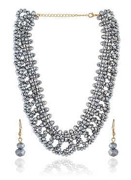Grey Colored Beads Necklace Set