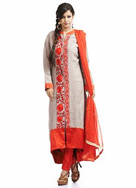 Grey Cotton Anarkali Suit
