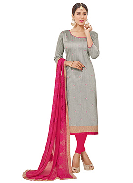 Grey Cotton Churidar Suit
