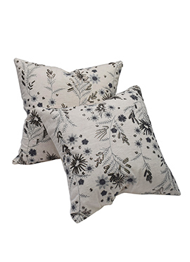 Off White Cotton Flower Cushion Cover