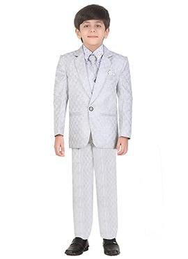 Grey Cotton Kids Suit