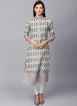 Grey Cotton Long Kurti