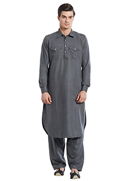 Grey Cotton Pathani Set