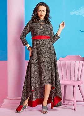 Grey Cotton Rayon Dress