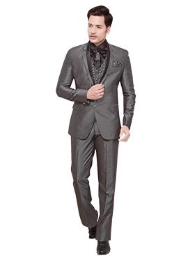 Grey Cotton Rayon Lapel Suit