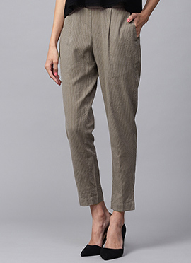 Grey Cotton Rayon Straight Pant