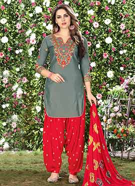 Grey Cotton Salwar Suit