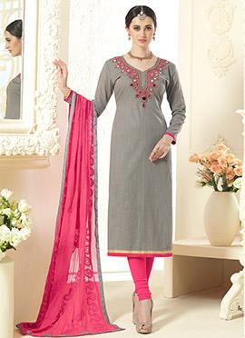 Grey Cotton Silk Straight Suit
