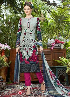 Multicolor Cotton Straight Pant Suit