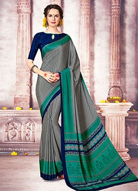 Grey Crepe Saree