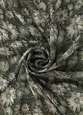 Grey Digital Printed Chinon Chiffon Fabric
