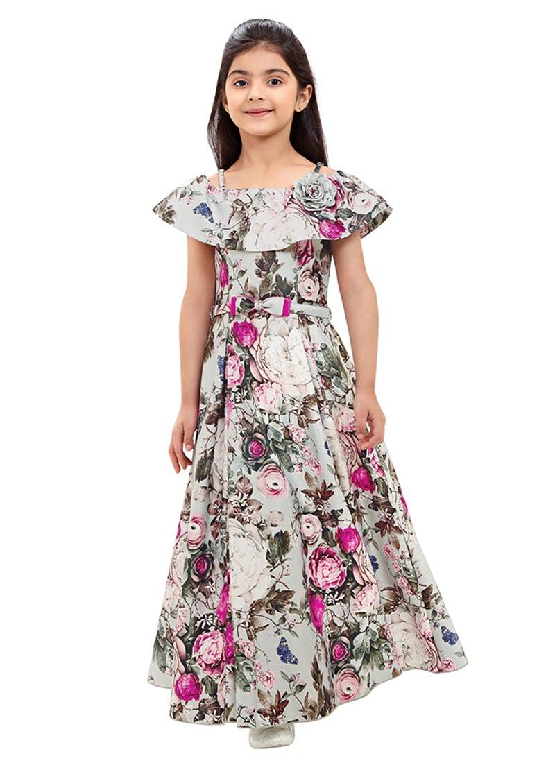 Buy Grey Digital Printed Kids Gown, Printed, girls gown Online ...