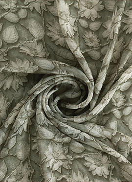 Grey Digital Printed Paper Silk Fabric